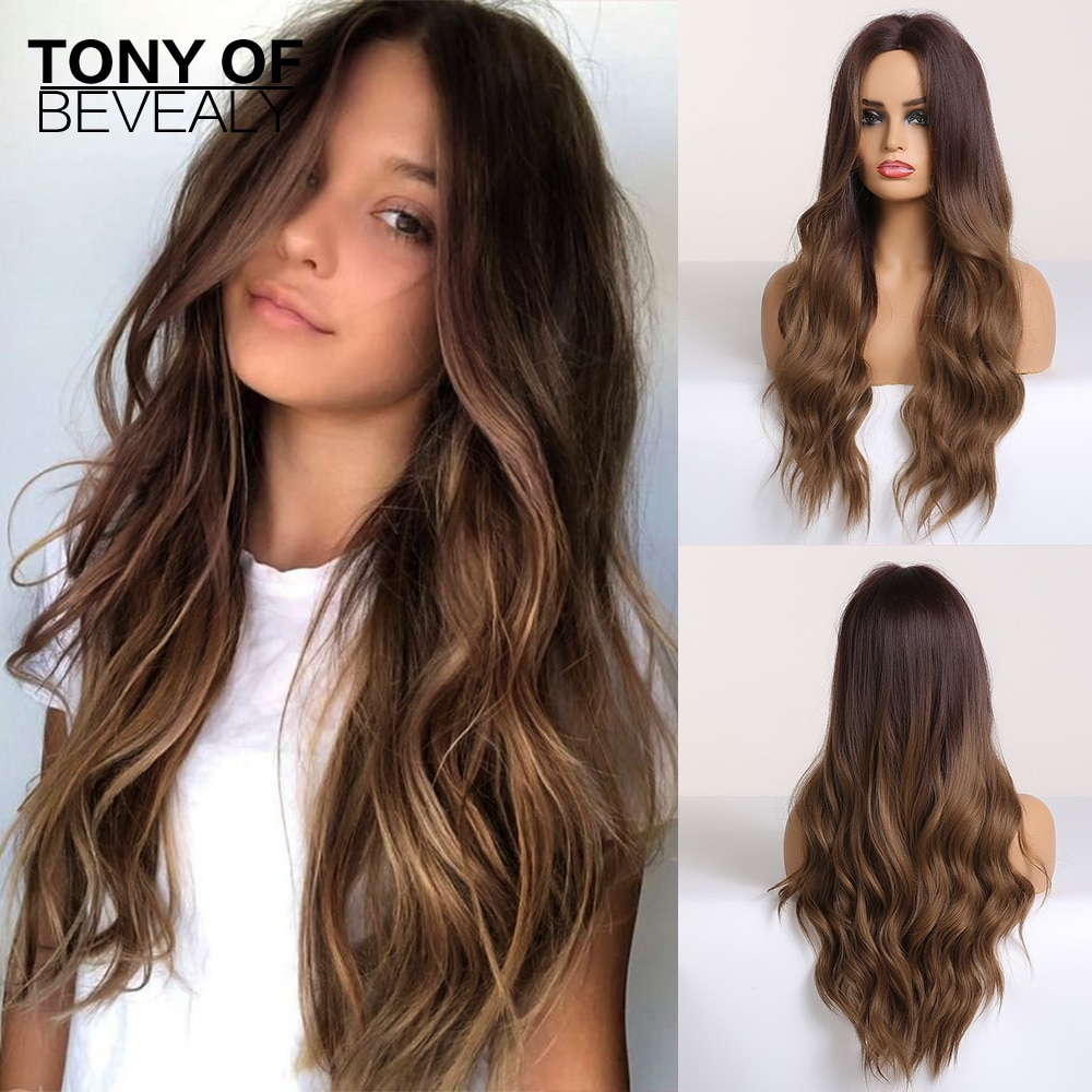 Long Water Wavy Synthetic Wigs Ombre Brown Middle Part Natural Hair For Women Cosplay Heat Resistant Fiber