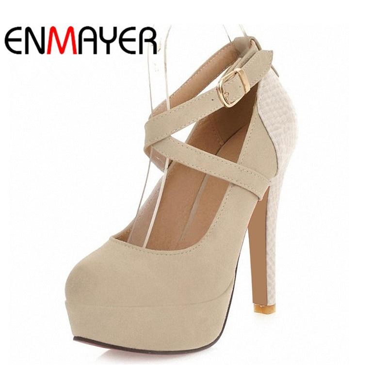Enmayer bombas de plataforma de moda sexy sapatos de salto alto sapatos de plataforma de dedo do pé redondo sapatos femininos de casamento de formatura tamanho grande 34-42