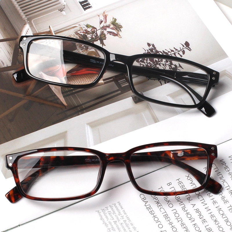 Classic small frame square reading glasses spring hinge comfortable diopter 0 degree to 600 degrees