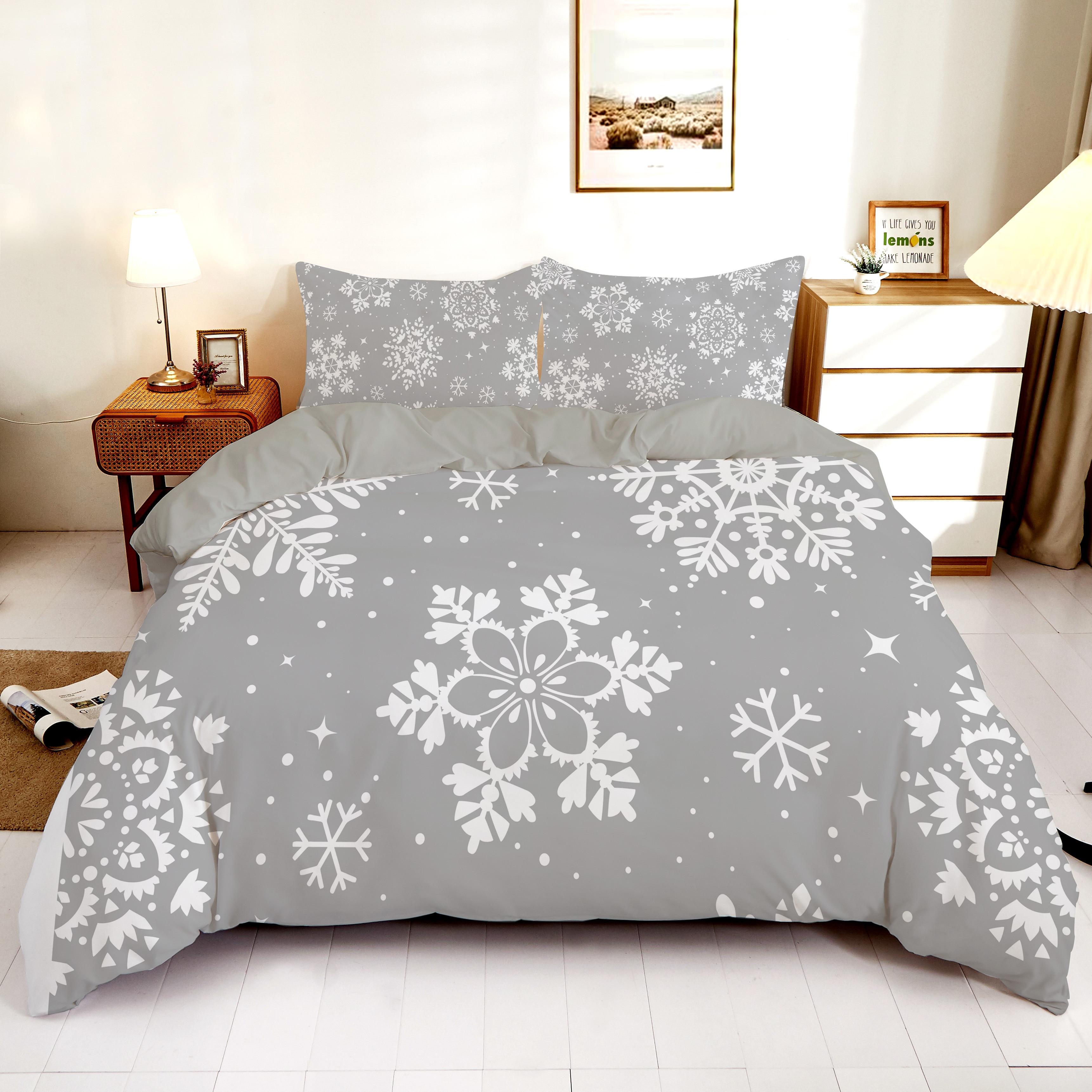 تحلق الثلج في جميع أنحاء السماء المطبوعة طقم سرير 2/3 قطعة الملكة الملك حاف الغطاء الدافئة المفارش غطاء لحاف مع المخدة
