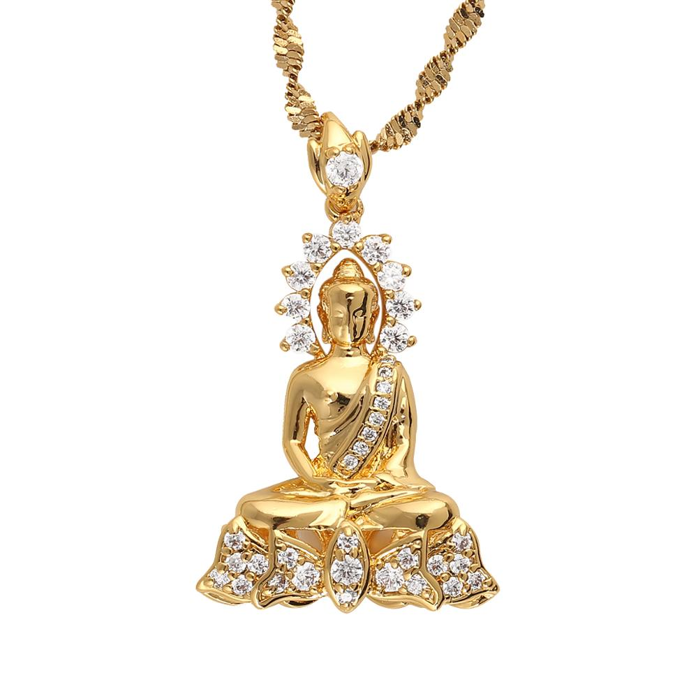 Vintage tibetano Amitabha buda budista colgante collar Nirvana meditando joyería