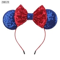 july 4th independence day mouse ears children headband sequin bows hairband for girls party hair accessories gift femme