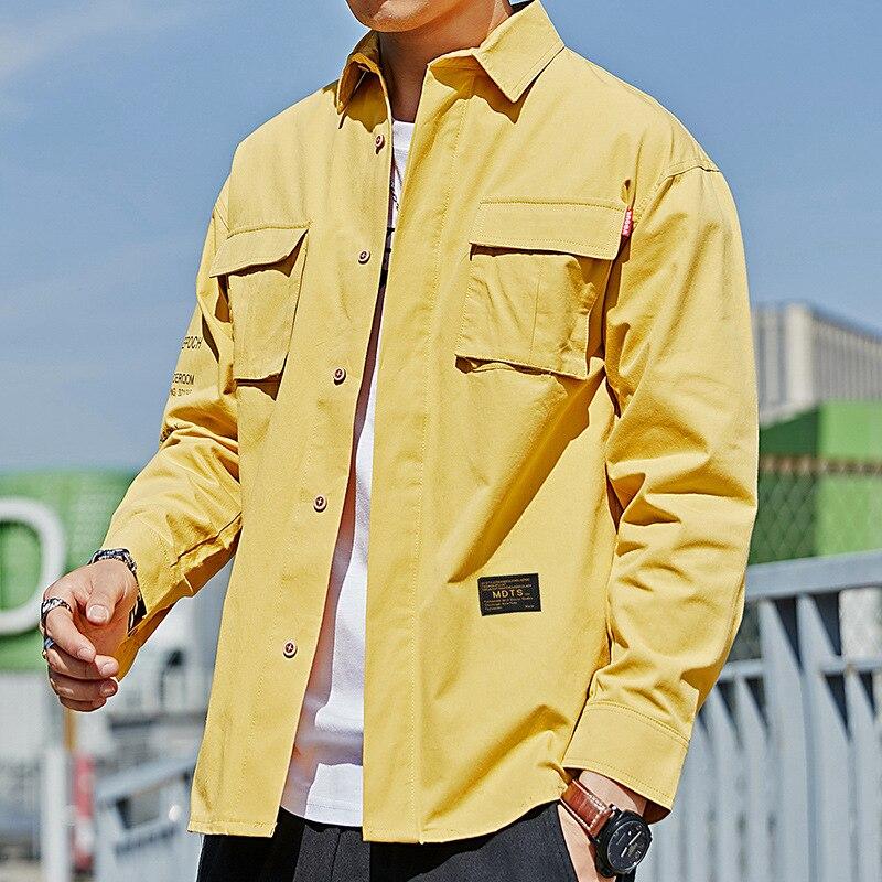 ¡Novedad primavera 2020! Camisa de algodón para hombre, camisa de manga larga con varios bolsillos estilo Safari Vintage