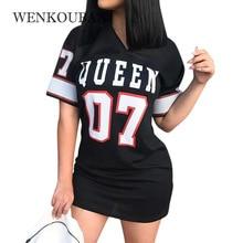 Sexy Dresses Women Queen Letters Print Summer Dress Bodycon Fashion Mini Dress Casual V Neck Short Sleeve Slim Work Plus Size