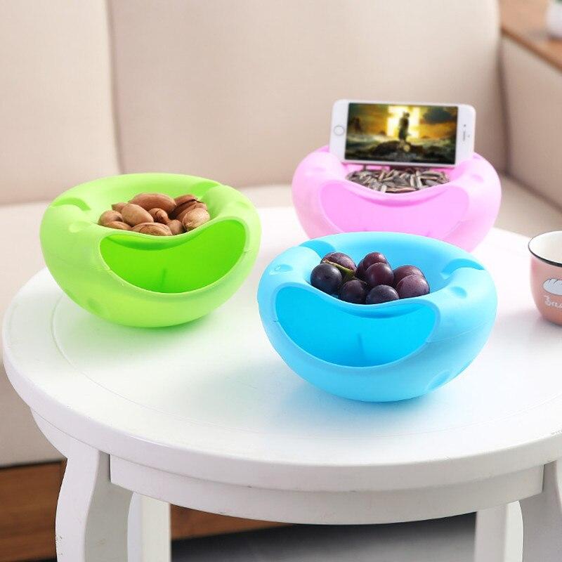 Bol de doble capa contenedores de fruta seca Snacks caja de almacenamiento de semillas soporte de basura plato organizador con soporte de teléfono LW0227246