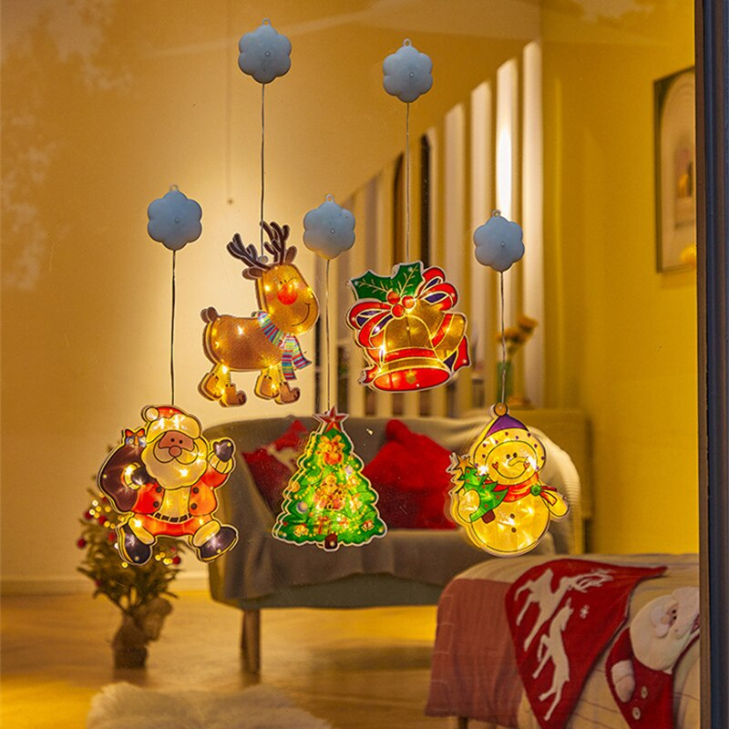 Christmas Decorative Lights Suction Cup Hanging Lamp Merry Xmas Tree Snowman Pattern Home Garden Dec