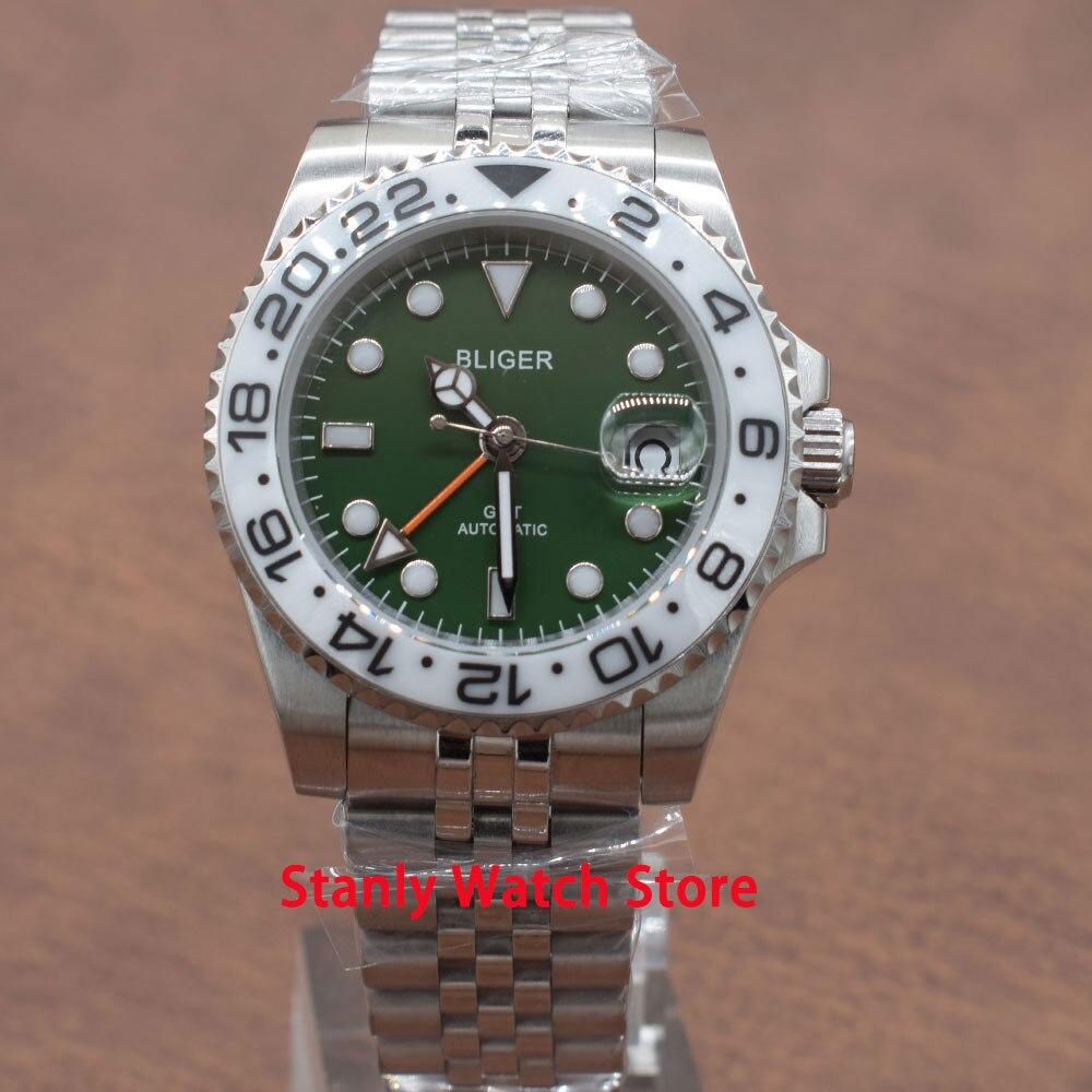 Zafiro Bliger 40mm esfera verde marcas luminosas blanco cerámica bisel función GMT Jubileo-banda movimiento automático relojes para hombres