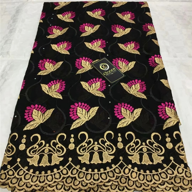 Tecido de renda suíço 2020 pesado bordado frisado africano rendas tecidos 100% algodão swiss voile renda na suíça com pedras lx55