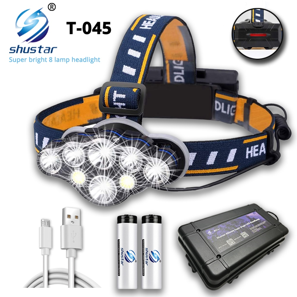 Super bright LED Headlamp With 8*LED Bulbs 5000 lumen Waterproof Outdoor LED Headlight Lightweight materials Comfortable to wear