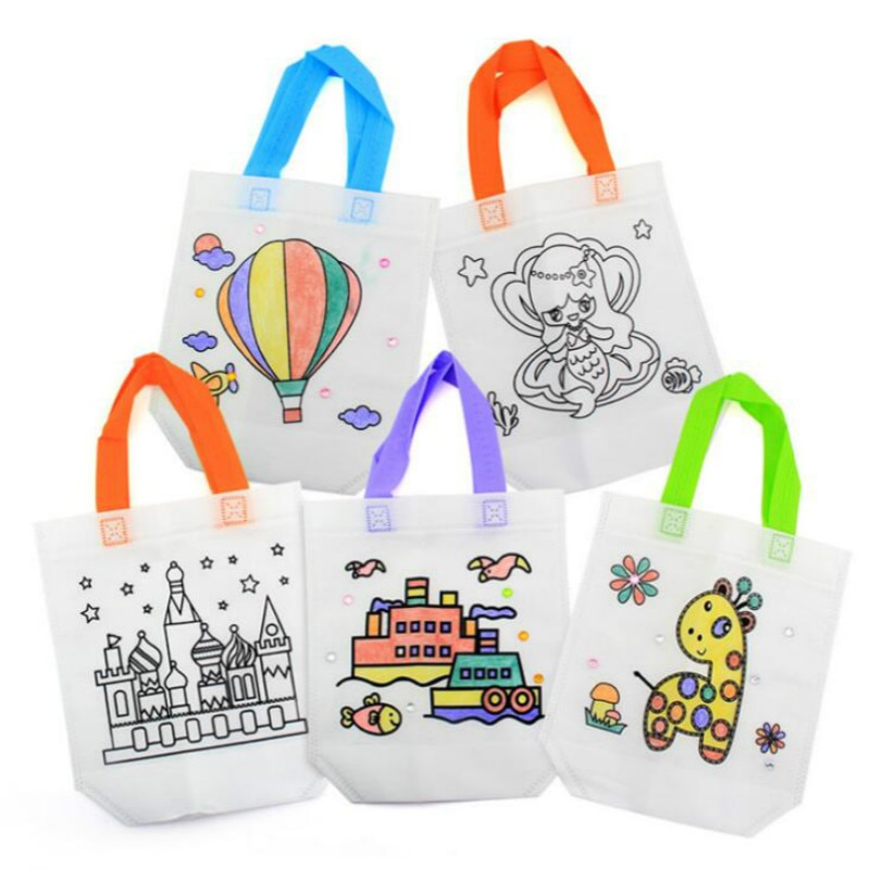 2 unids/bolsa rompecabezas antiestrés juguete educativo para niños DIY respetuoso con el medio ambiente bolso con grafiti Kindergarten mano materiales de pintura