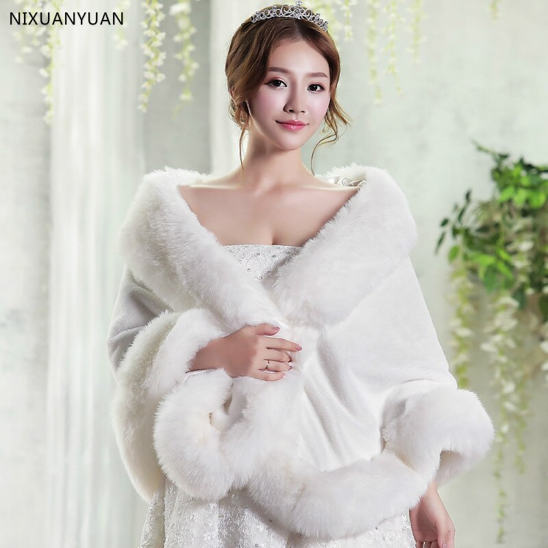 Pernikahan merah / putih bolero musim dingin pengantin angkat bahu bulu palsu selendang pengantin wanita membungkus jaket pengantin jaket pesta kot selendang pengantin