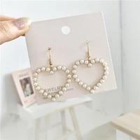 fashionable harajuku soft of retro geometric stud earrings heart shaped love sweet hearts of pearl earrings accessories