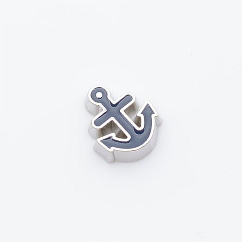 Черный якорь, Плавающие Подвески, подходят плавающие медальоны, FC0080