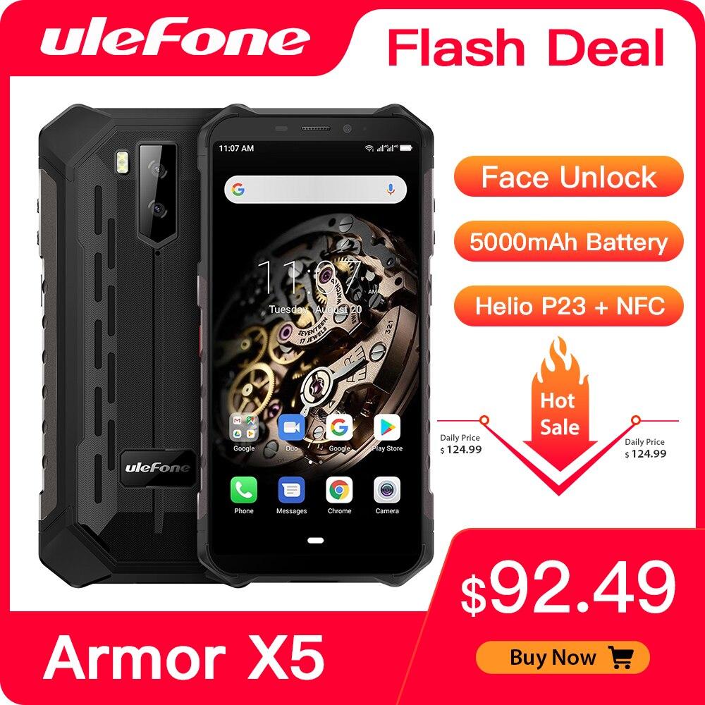 Ulefone armadura X5 resistente Smartphone Android 9,0 Octa-core Helio P23 NFC IP68 3GB 32GB 5000mAh teléfono celular 4G teléfono móvil Android