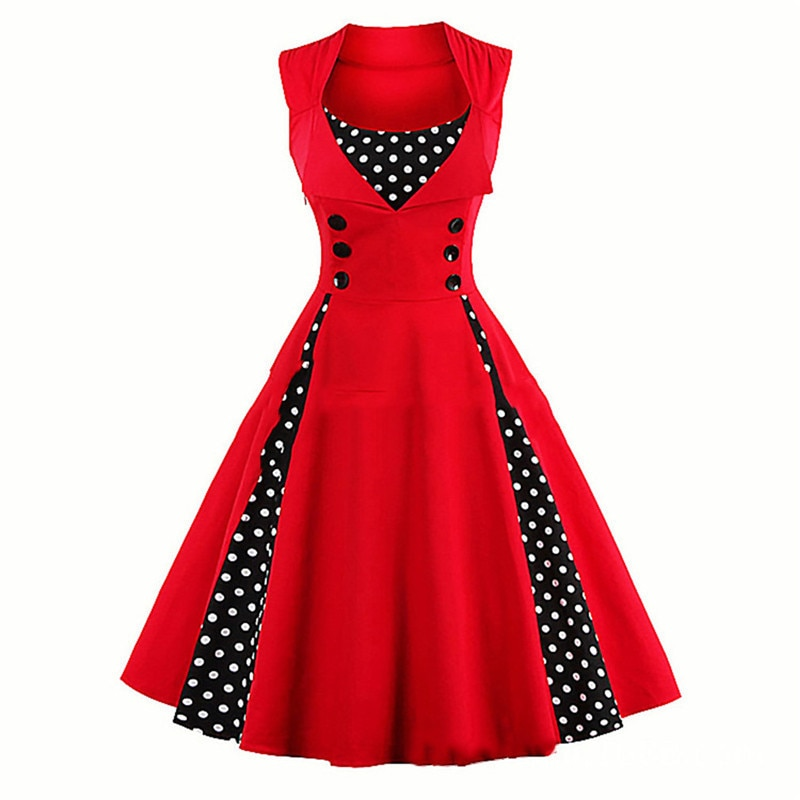 S-3XL Retro Vintage para mujer, vestido Rockabilly de lunares, Pin Up, elegante, Túnica informal para fiesta de verano, 50s y 60s