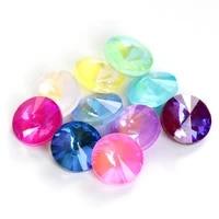 astrobox 50pcs rivoli mocha fluorescence crystal rhinestone decorative crystal glass beads stone diy clothing jewelry making