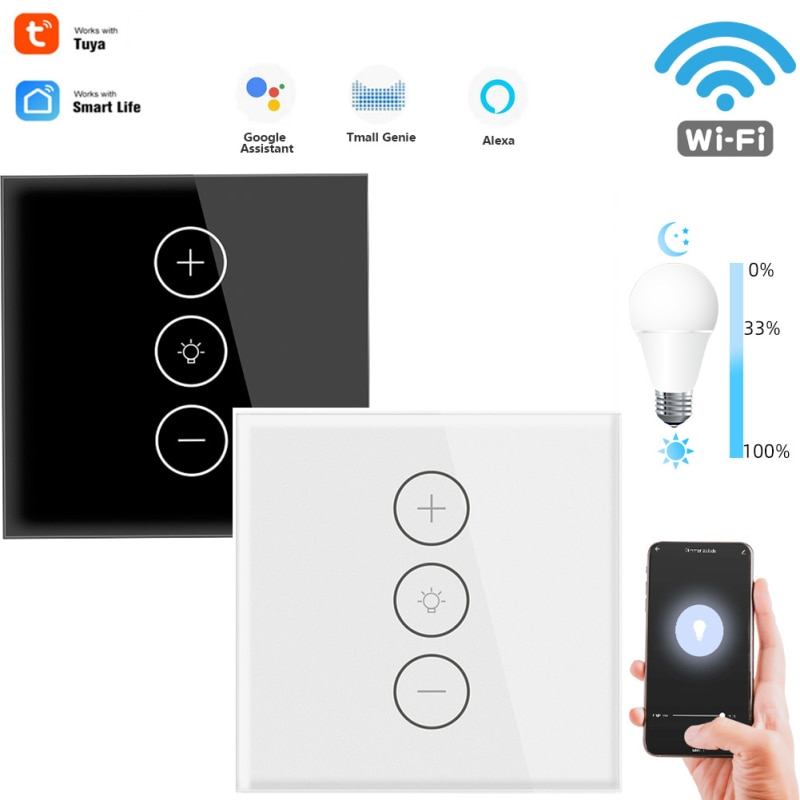 WiFi Smart Dimmer Switch Touch In Wall Remote Control Light Work Alexa Voice/Group Control Family Intelligence System