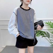 Women Fashion New Blouse Round Neck Lattice Splicing Hollow Out Korean Fashion Long Sleeve Autumn 20