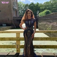 2019 couture navy blue rhinestones evening dresses long o neck cap sleeve beaded mermaid formal evening gown