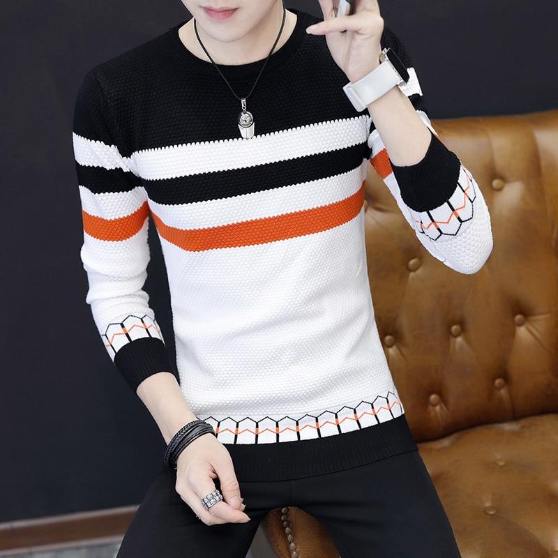 Мужские свитера, Новый классический простой пуловер, свитер с круглым вырезом, мужские свитера с длинными рукавами, серые, черные свитера дл...