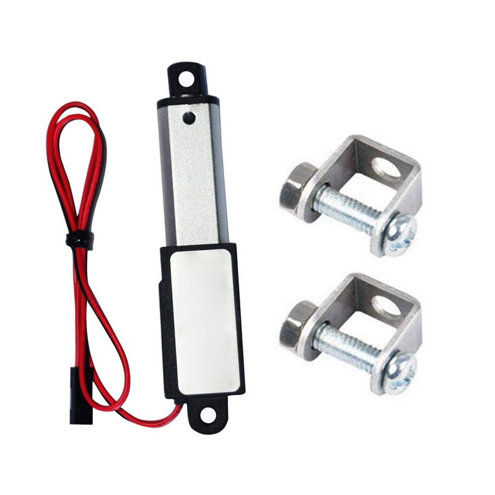 12V 60N Stroke Length 50mm Speed 15mm Micro Linear Actuator Mini Electric Waterproof with Mounting Brackets Linear actuator Nice 30mm 40mm 50mm stroke micro mini precision screw linear stepper motor dc 5v 2 phase 4 wire linear actuator