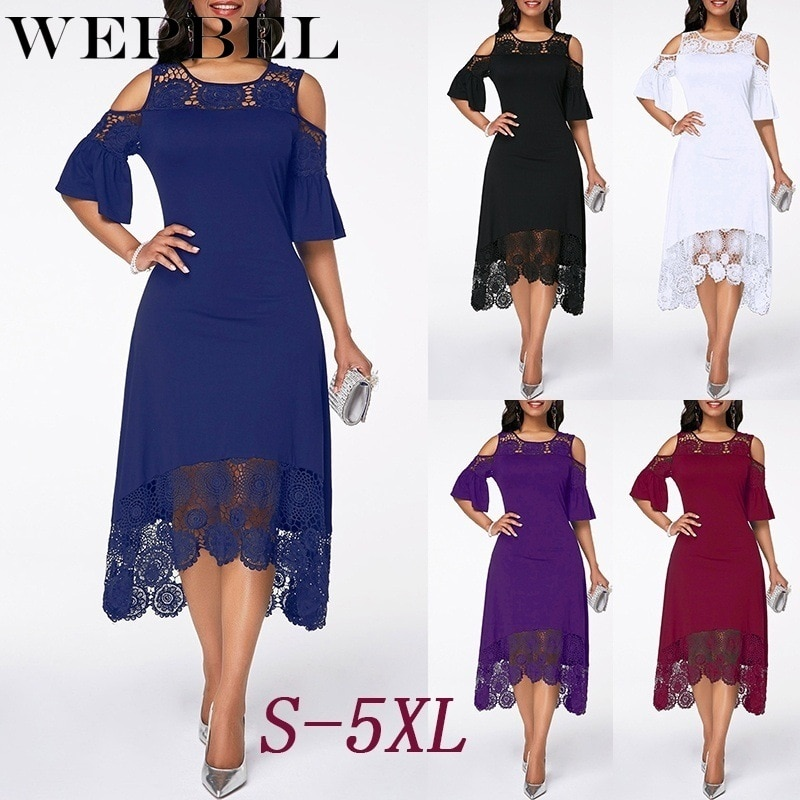 Фото - Women Plus Size Summer Lace Floral Dress Ladies Short Ruffles Sleeve Off Cold Shoulder O Neck Party Dress Long Maxi Dress 5XL bell sleeve cold shoulder lace panel dress