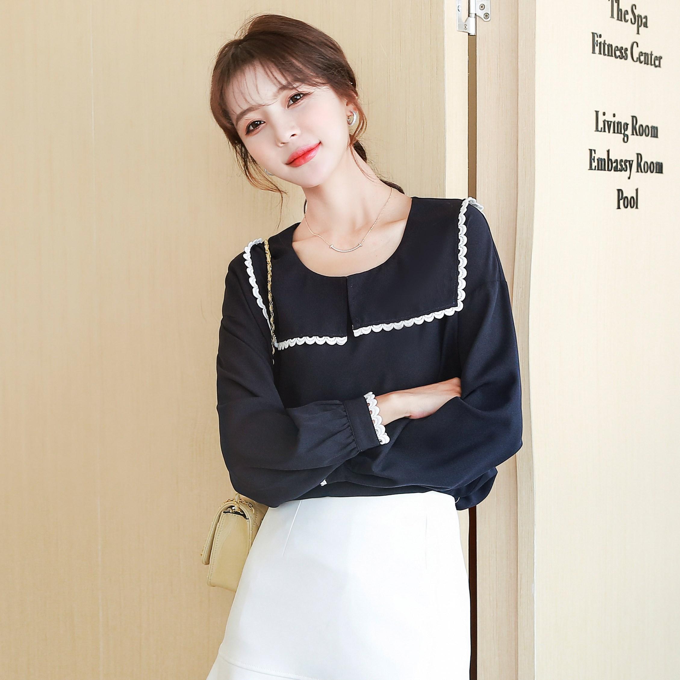 COIGARSAM estilo Preppy blusa nueva primavera Vintage de manga completa chifón suelto blusas tops y blusas para mujer 5106 Azul Marino