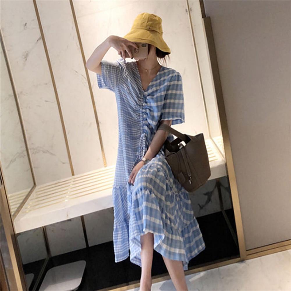 Vestido de moda de las mujeres de la Primavera Verano 2020 vestido azul estilo coreano vestido Sexy Rosa ropa Kawaii Streetwear jupe mujer de talla grande