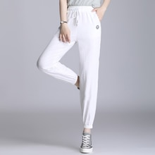OUMENGKA Cotton Linen Pants for Women Loose Casual Solid Color Female Harem Trousers  Plus Size Capr