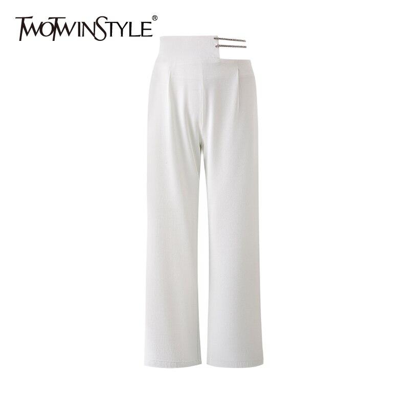 TWOTWINSTYLE بانت عادية للنساء عالية الخصر الجوف خارج الصلبة كامل طول مستقيم السراويل الإناث الصيف الملابس 2021 نمط جديد