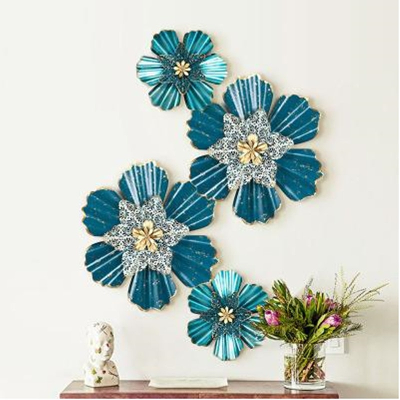 Nordic three-dimensional iron flower, beautiful wall hanging crafts, decorative art, home office restaurant wall decoration