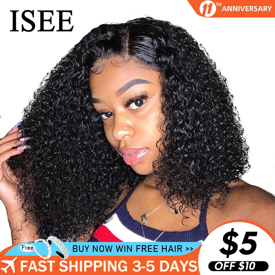 AliExpress - ISEE HAIR Curly Lace Front Wigs For Women Kinky Curly Lace Frontal Wig 4X4 Lace Closure Bob Wig Brazilian Curly Human Hair Wigs