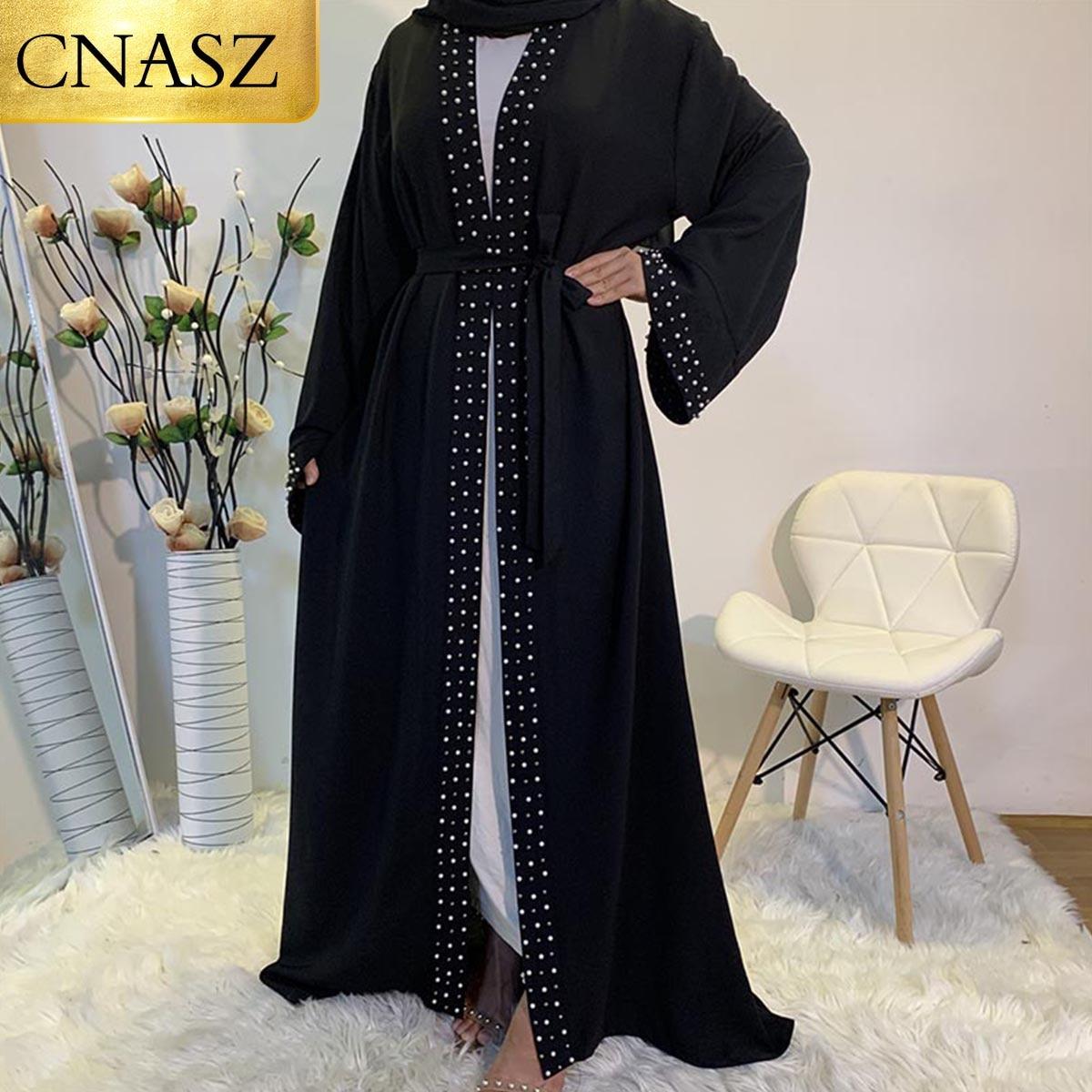 أحدث عبايات إسلامية للنساء موضة إسلامية لؤلؤ كيمونو رداء فستان متواضع طويل أنيق بأزرار ملابس أمامية مفتوحة عباية