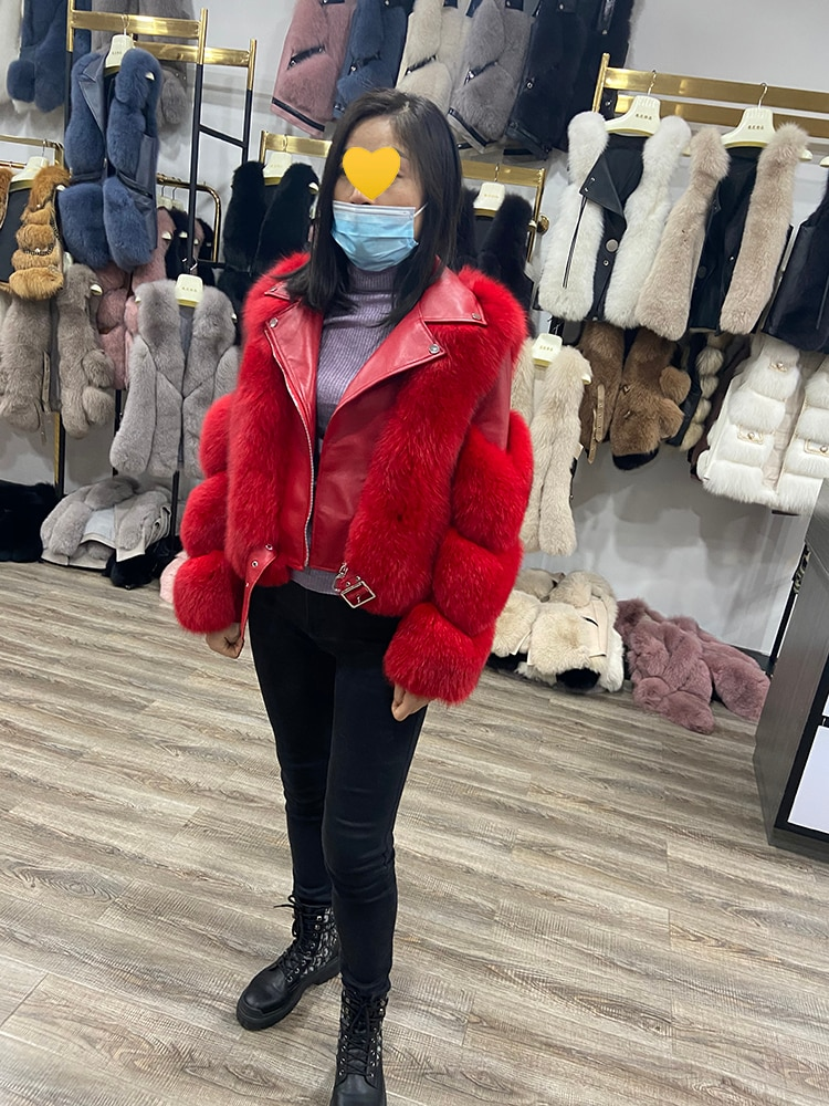 Winter Women Real Fox Fur Coats With Genuine Sheepskin Leather Whole Skin Natural Fox Fur Jacket Lady's Warm Fur Outwear