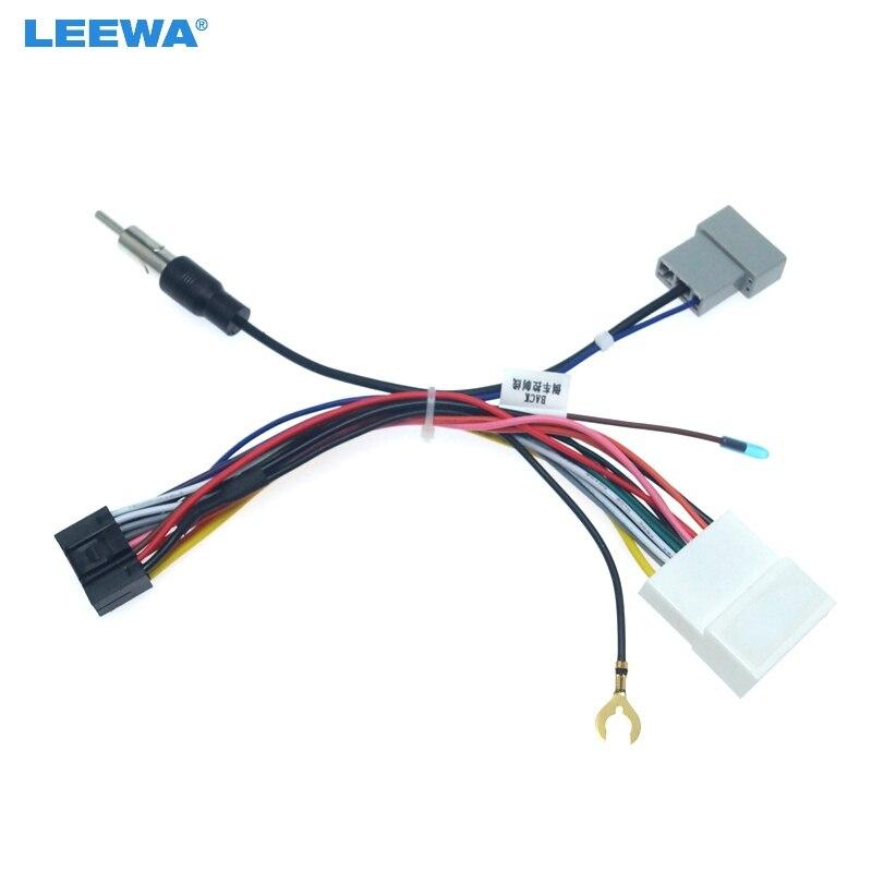 LEEWA 5set 16P unidad principal de coche adaptador de arnés de alambre para Nissan OEM coche mazo de cables para Radio # CA2049