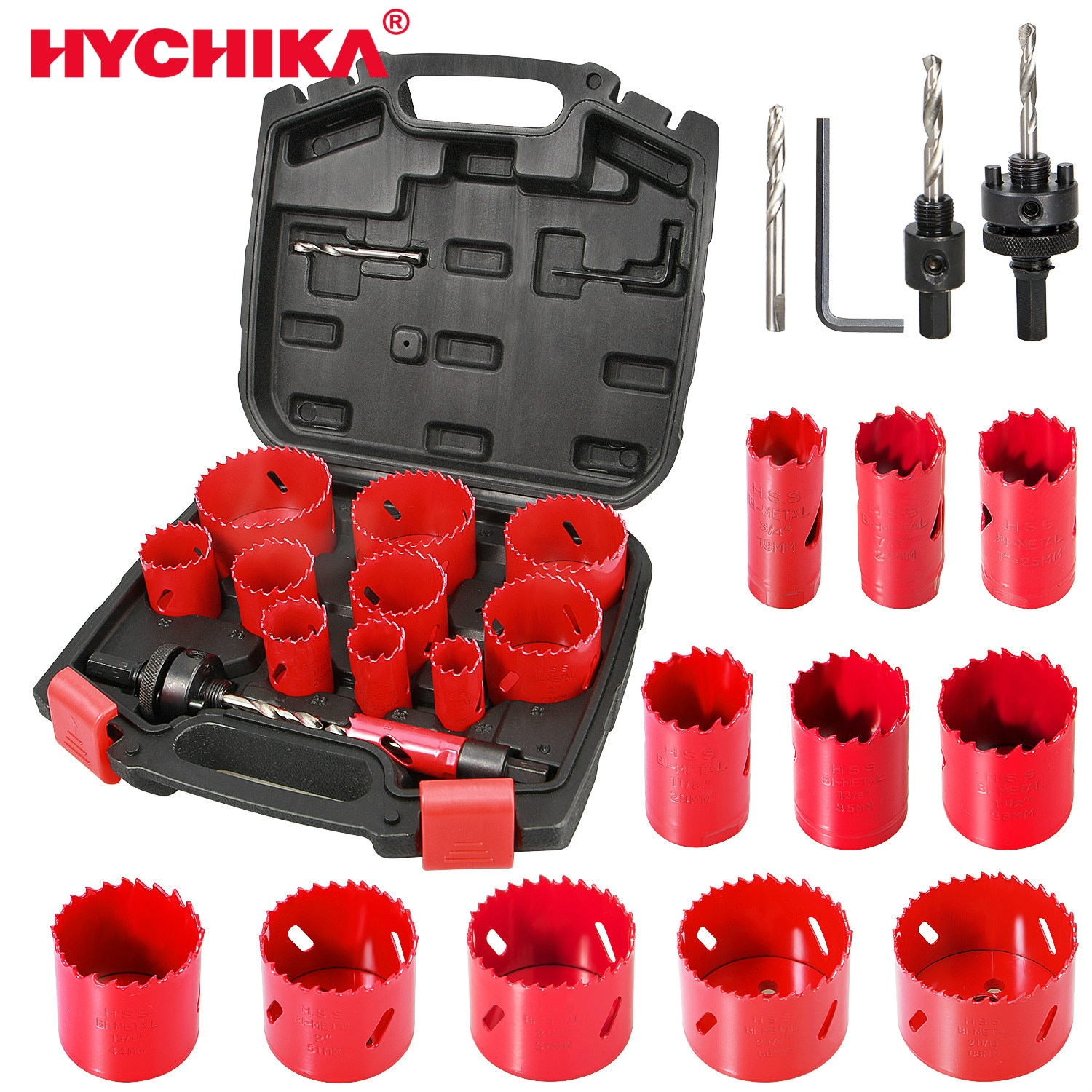 HYCHIKA Bi-Metal Hole Saw Kit 17 Pcs High Speed Steel Saw for Drilling PVC Board Metal and Plastic Plate