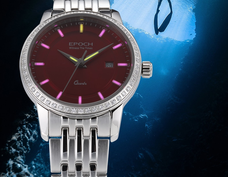EPOCH Women Tritium Light T25 Watch  Quartz Luminous Waterproof 50m Girl Dress Rhinestone Watch enlarge