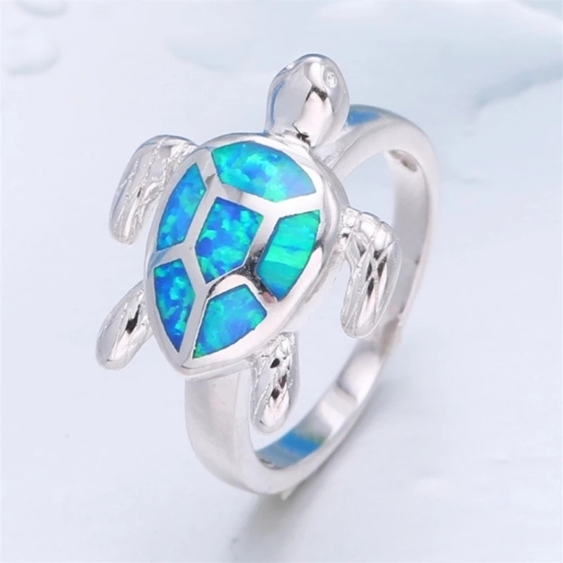 Classic Women Ring Cute Turtle Blue Animal Vintage Rings For Women Wedding Engagement Bands Fashion Girl Jewelry