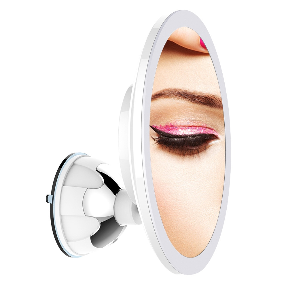 Abbashealth usb 10x lupa led luz recarregável espelho de maquiagem tela sensível ao toque dobrável espelho de maquiagem com luzes led lâmpadas m6
