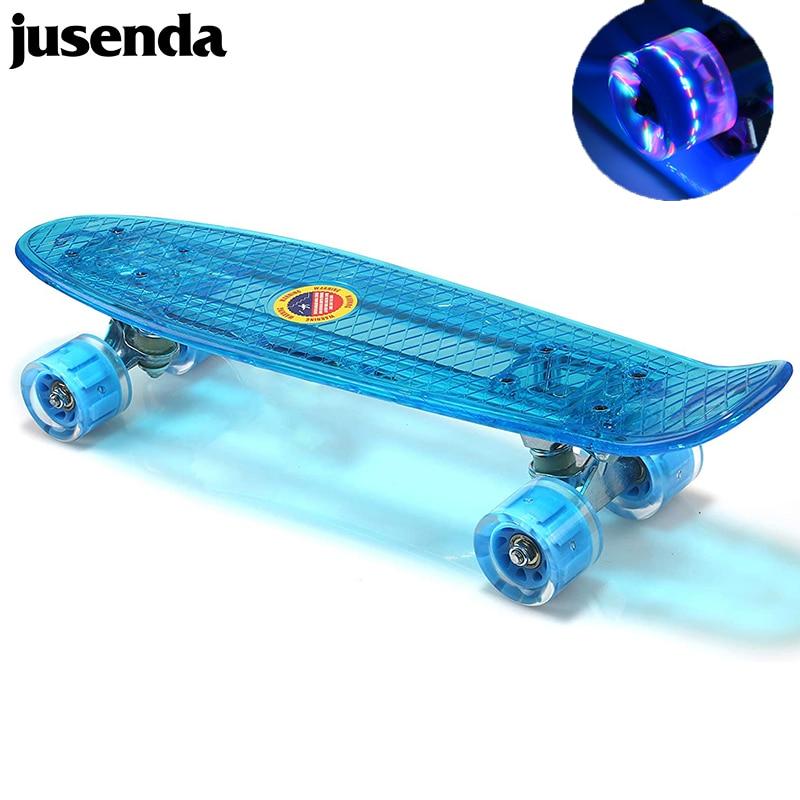 Jusenda-monopatín Mini para niños, patineta LED, Longboard, tablero de pescado, ruedas Flash,...