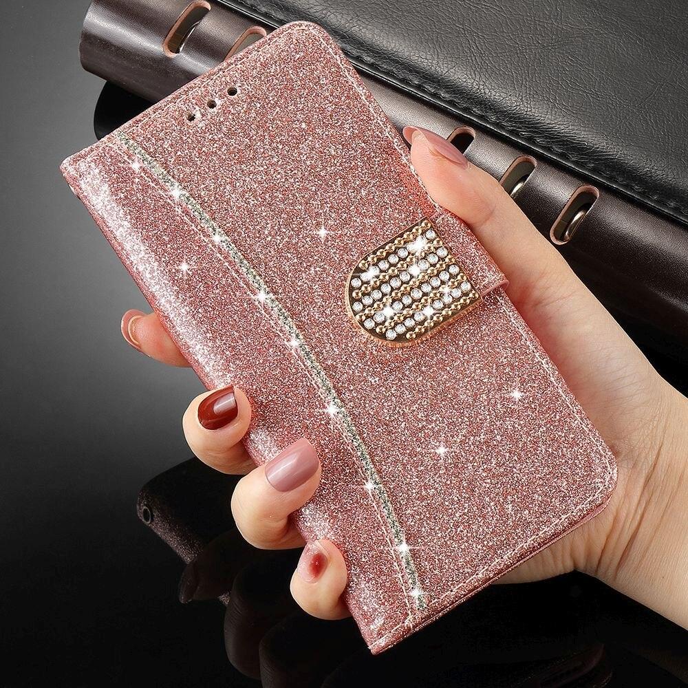Чехол-бумажник с откидной крышкой для IPhone 11 Pro Max X Xr Xs, кожаный чехол со стразами для телефона IPhone 8 Plus 7 6S 6 5 5S SE2 12 Pro Max Mini