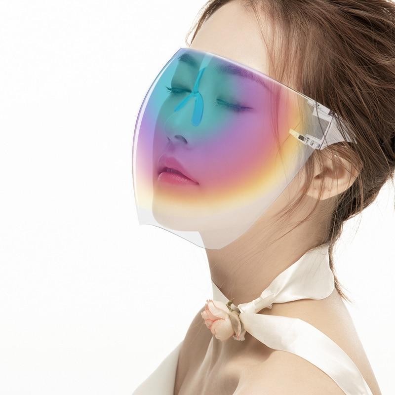 1Pcs Fashion Clear Full Face Shield Unisex Oversize Colorful Shield Visor Sunglasses Plastic Sun Gla