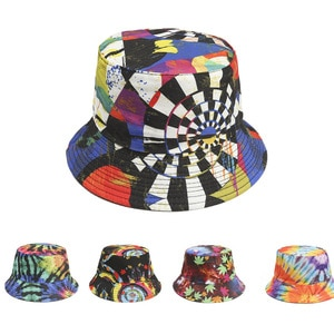 2021 New Printed Fisherman Hat Cross-Border Ladies Outdoor Shade Bucket Hat Double-Sided Hat Trendy