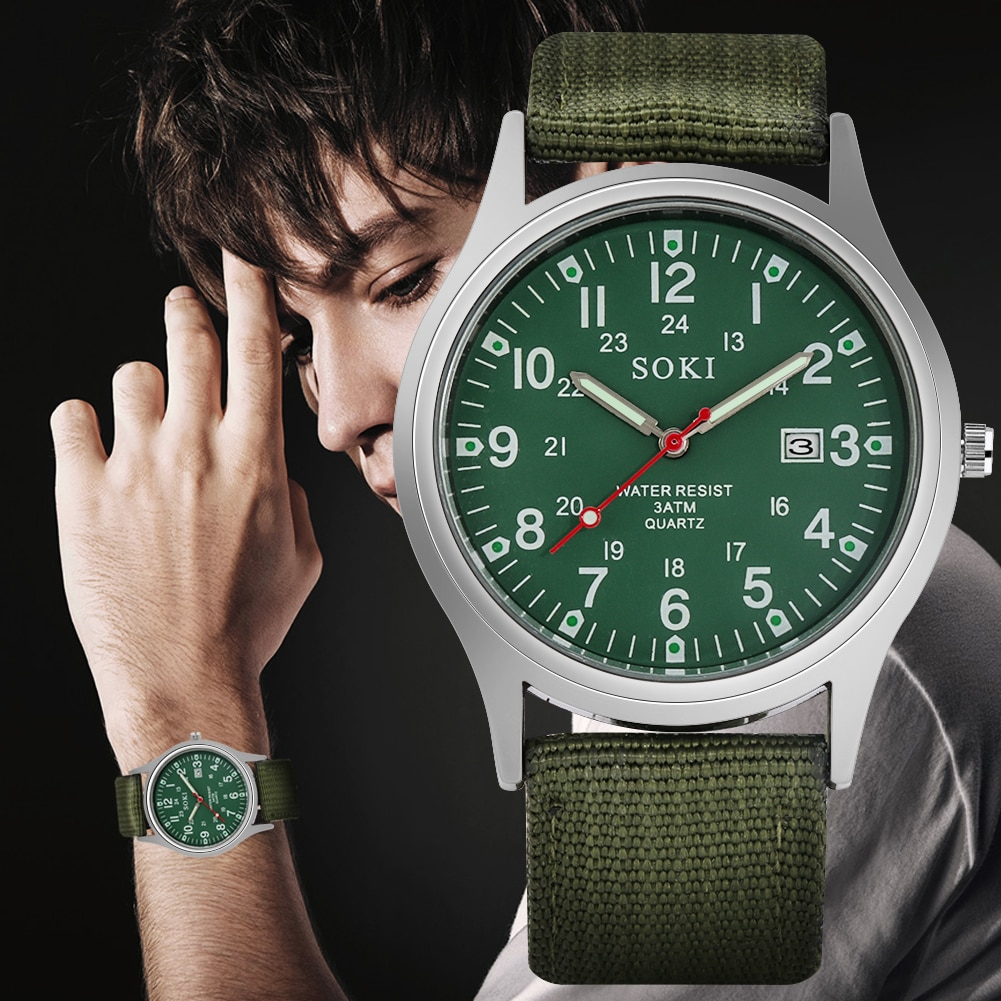 Men Sports Watches 2020 Fashion SOKI Man Watch Casual Calendar Male Clock Wristwatch Nylon Belt Waterproof Quartz Military