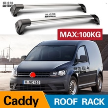 2 pcs For VOLKSWAGEN Caddy, 4/5-dr MPV, 04-15, roof bar car special aluminum alloy belt lock Led shooting   ROOF RACK CORSS rack