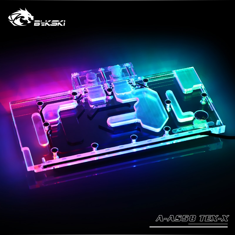 Bykski Gpu Cooler Block Use for ASUS EX-RX580 2048SP 8G/Full Cover Copper Water Block/Graphics Card Radiato/A-RGB/RGB AURA