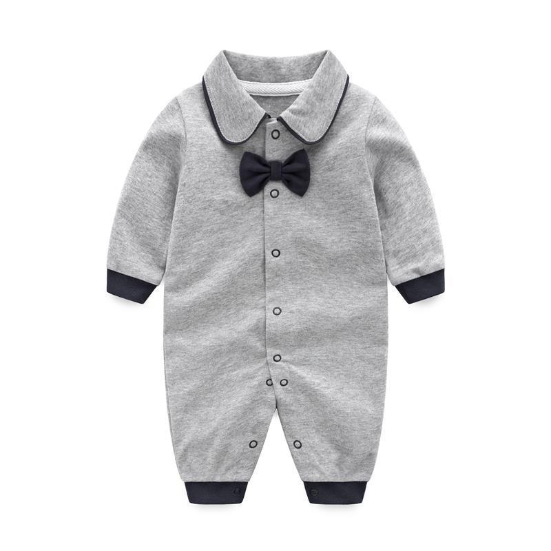 ¡Primavera 2019! Ropa de uniforme de bebé con lazo para caballero, peleles de bebé de manga larga, ropa de bebé unisex, Mono para recién nacido, ropa barata
