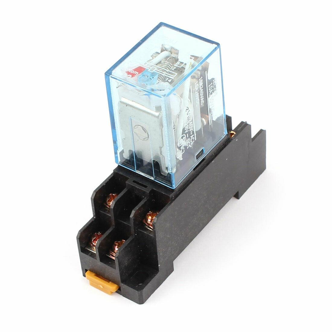 Relé de potencia de bobina cc 12V 10A DPDT ly2nd con Base de enchufe PTF08A