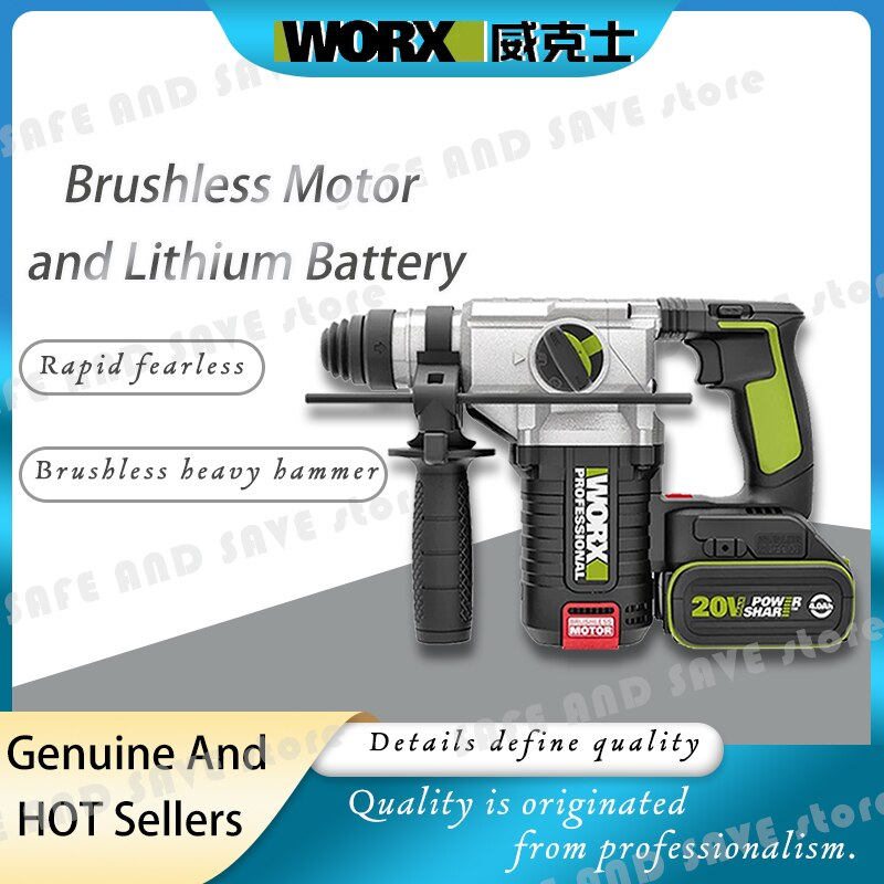 Worx-مثقاب كهربائي ، أداة احترافية WU388 ، تأثير بطارية 20 فولت ، مطرقة دوارة كهربائية