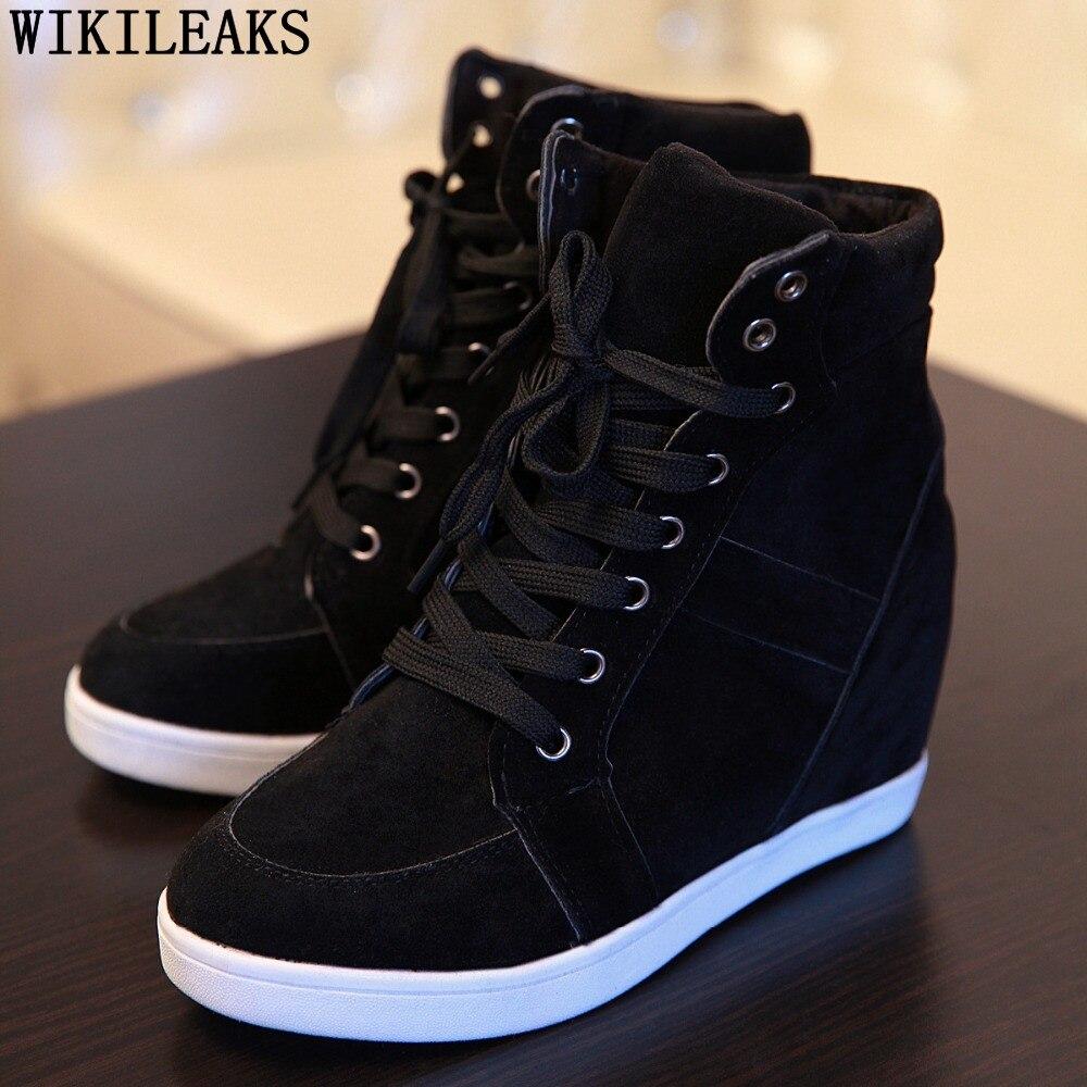 2020, zapatos informales para mujer, zapatillas con plataforma que aumentan la altura, zapatos de cuña para mujer, zapatos con cordones de alta calidad, zapatos de mujer de gamuza auténtica